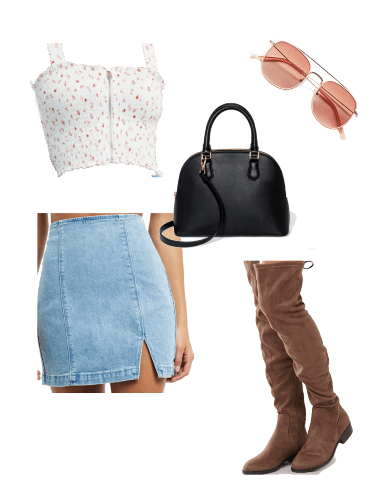 How to wear knee high suede boots in the summer with mini denim skirt, satchel bag, sunglasses, and zip front cami top