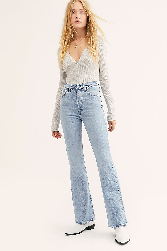 Levis high waisted flares in light wash