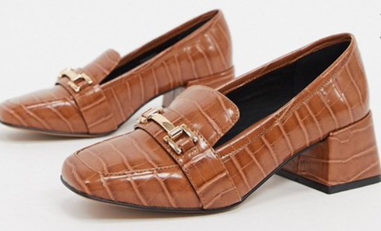 brown heeled loafers