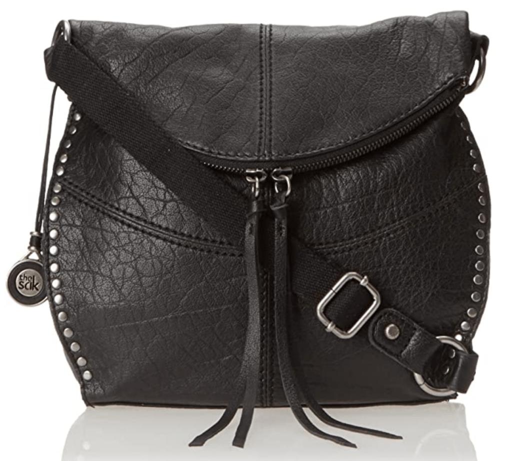 Black boho style fringed crossbody bag