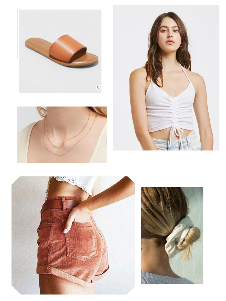 Casual summer outfits: Corduroy shorts, scrunchie, white cropped tank top, brown leather slides
