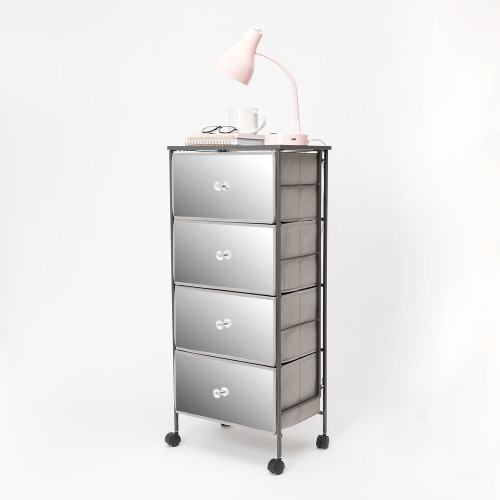 Mirrored four drawer cart from Dormify for dorm organization
