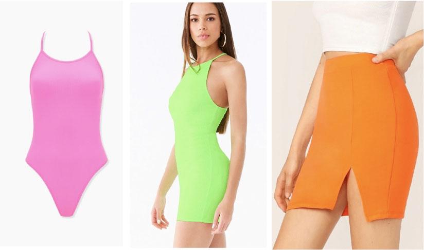Neon pieces - pink bodysuit, neon green dress, neon orange skirt