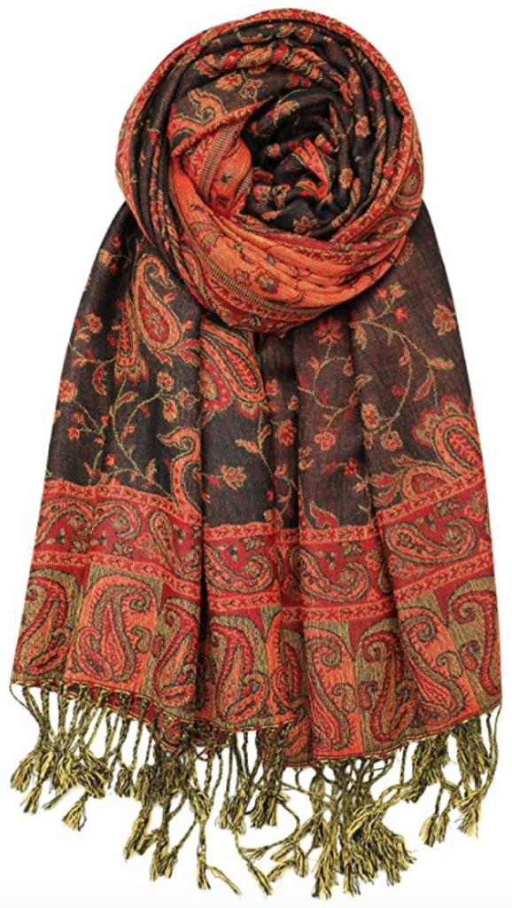 Orange and brown pashmina scarf