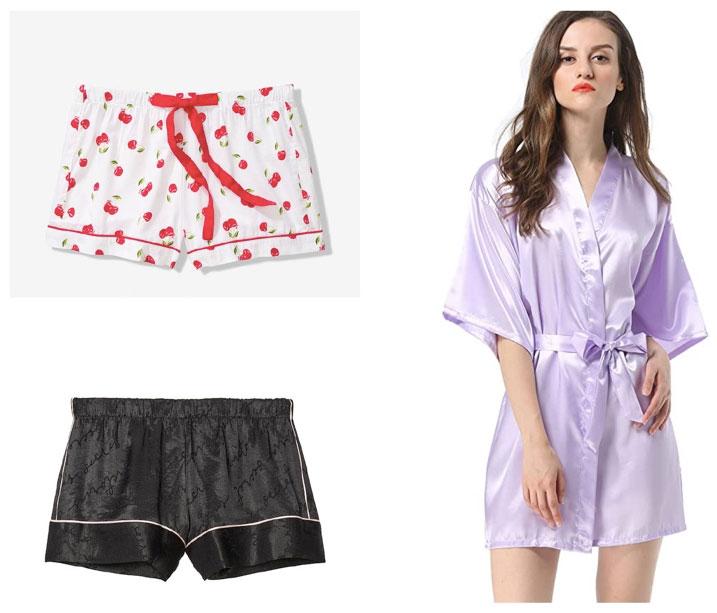 Cherry print pajama shorts, black pajama shorts, and a purple satin robe