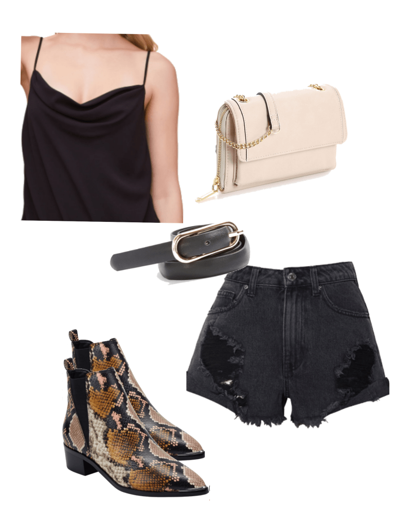 How to wear pointed toe ankle boots in summer: Outfit with ripped black shorts, black belt, cami top, beige crossbody