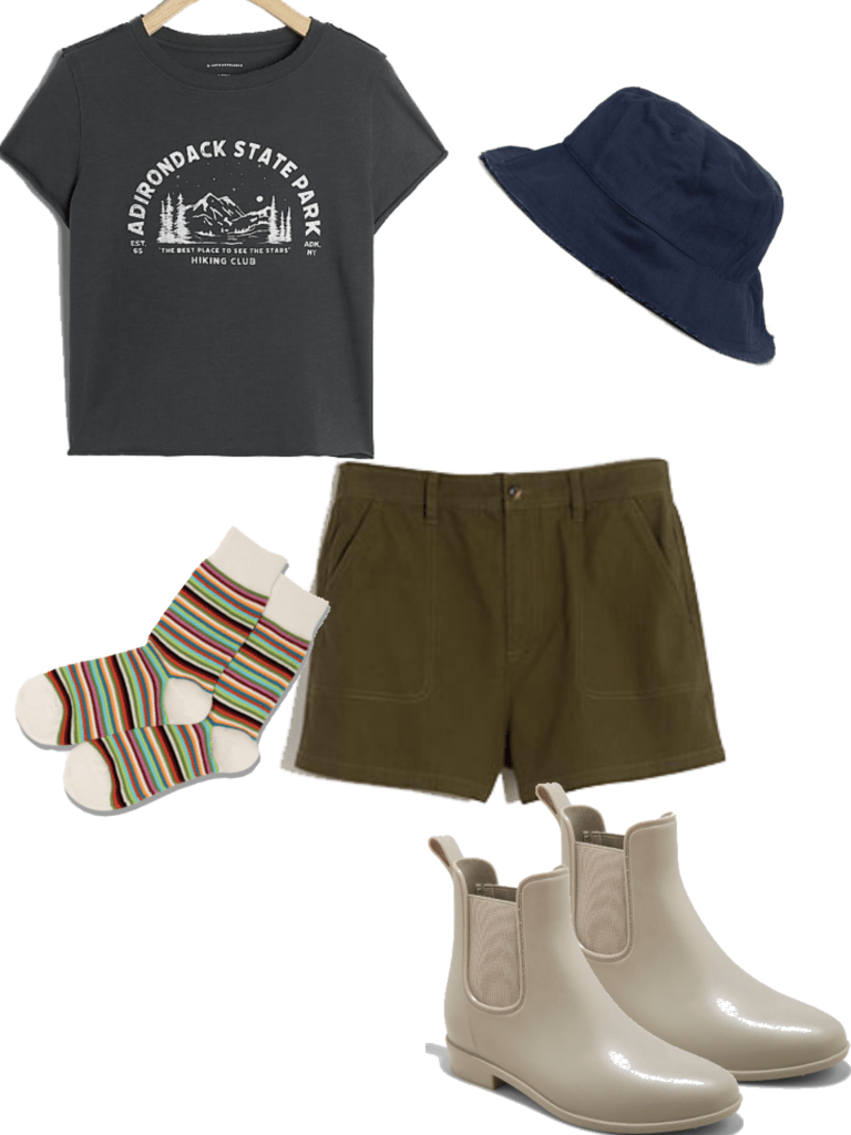 How to style Chelsea boots in the summer months: Outfit with t-shirt and shorts, striped socks, beige chelsea boots, and bucket hat