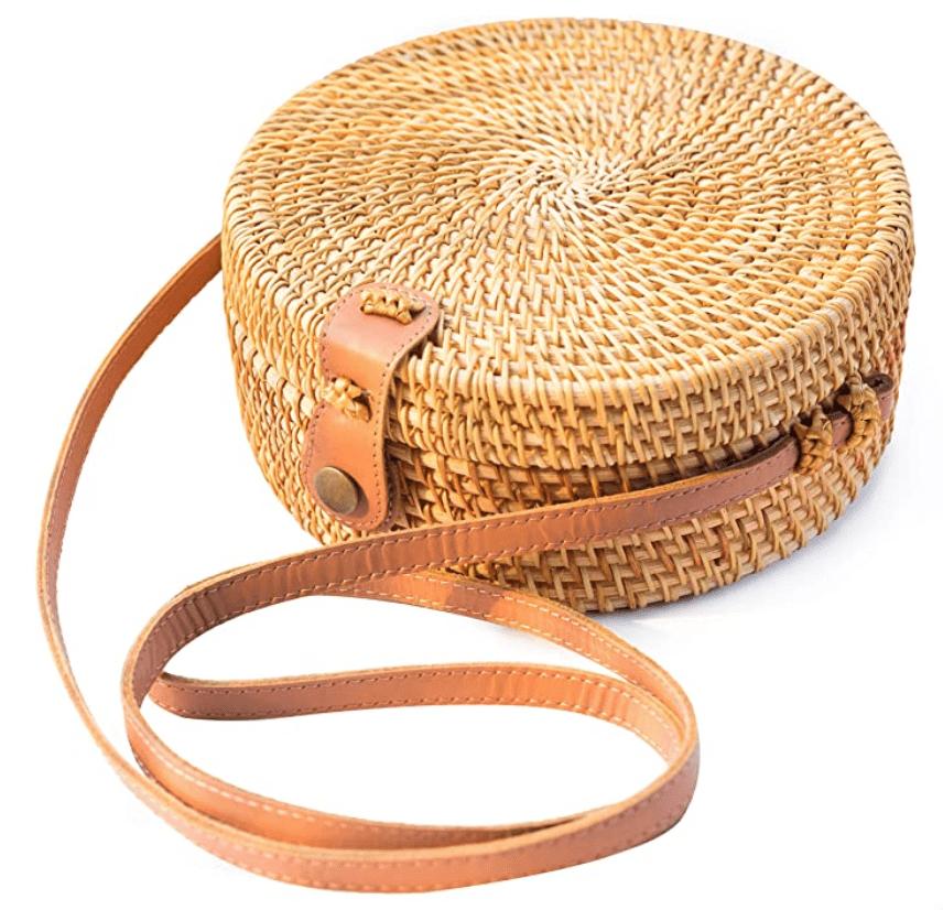 Trendy rattan circle bag