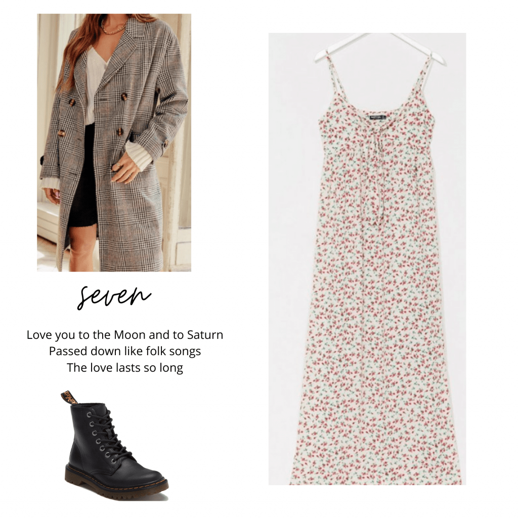 Taylor Swift folklore outfits: Fashion inspired by Seven with floral maxi dress, Doc Martens boots, plaid oversized coat