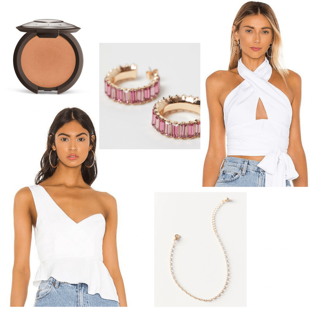 Recruitment zoom outfit ideas: One-shoulder white top or white halter top, cute jewelry, bronzer