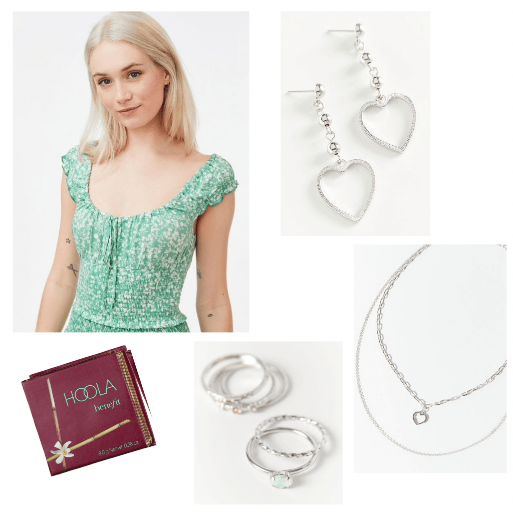 Virtual sorority recruitment outfit: Green peasant top, silver jewelry, bronzer