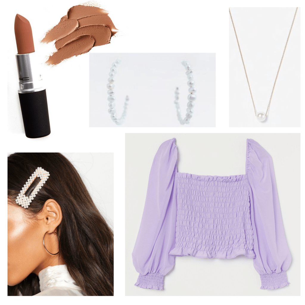 Virtual sorority recruitment outfit, day 3: Lavender top, silver jewelry, dark lipstick, pearl hair clip