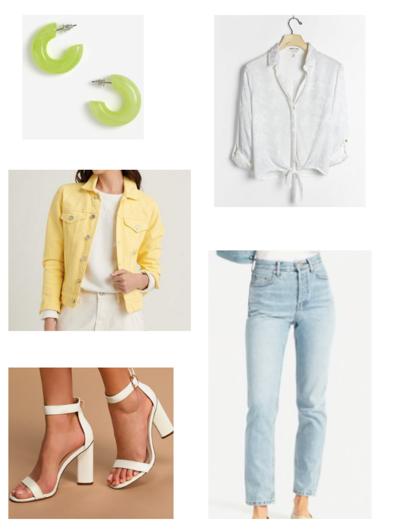Casual summer look with white tie front top, green earrings, yellow denim jacket, white heels, mom jeans
