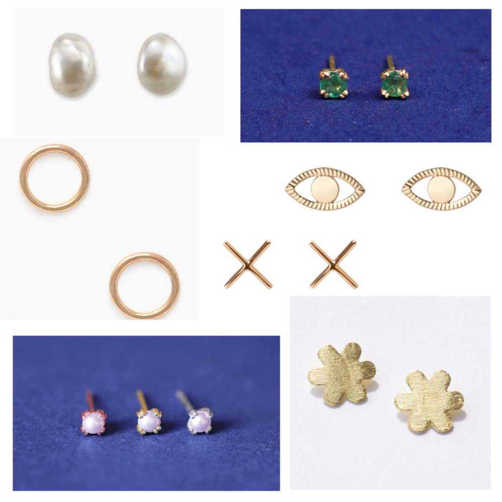 Timeless jewelry - stud earrings roundup with pearl studs, emerald studs, gold shape studs, x shaped studs
