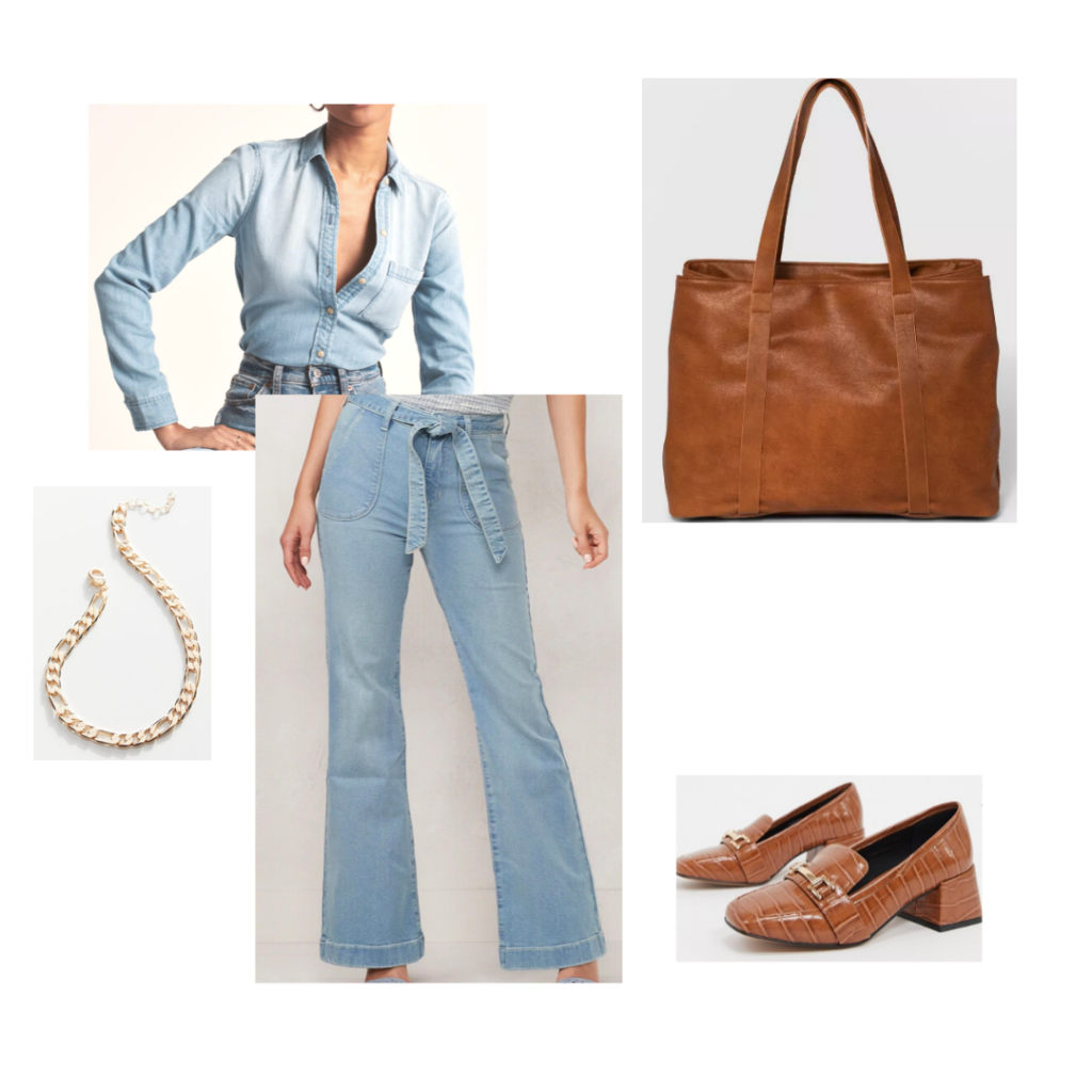Chic capsule wardrobe outfit idea - All jean vintage outfit paired with brown loafers, over-sized brown tote and chain link necklace.