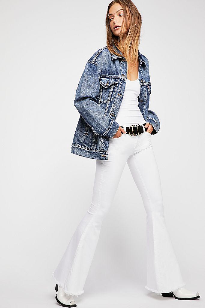 White Free People super flare boho jeans