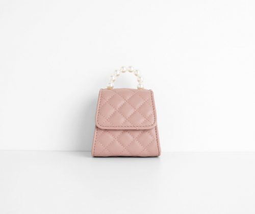 Pink quilted mini bag