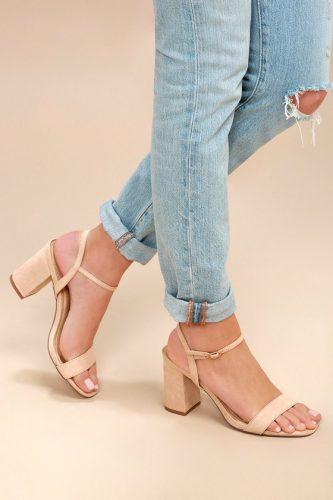 Beige block heels