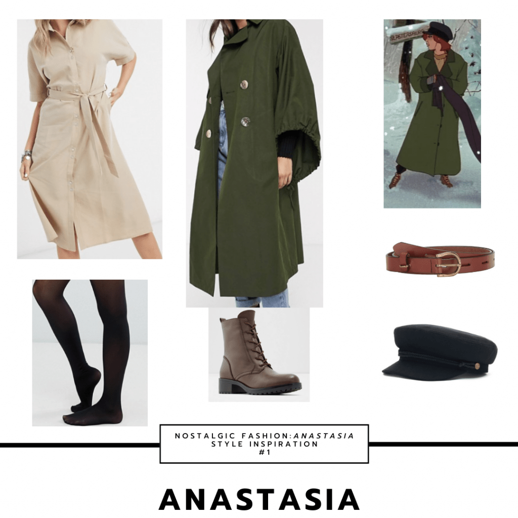 Anastasia fashion: Style inspiration inspired by her Anya look with green coat, beige dress, boots, black tights, cabby hat