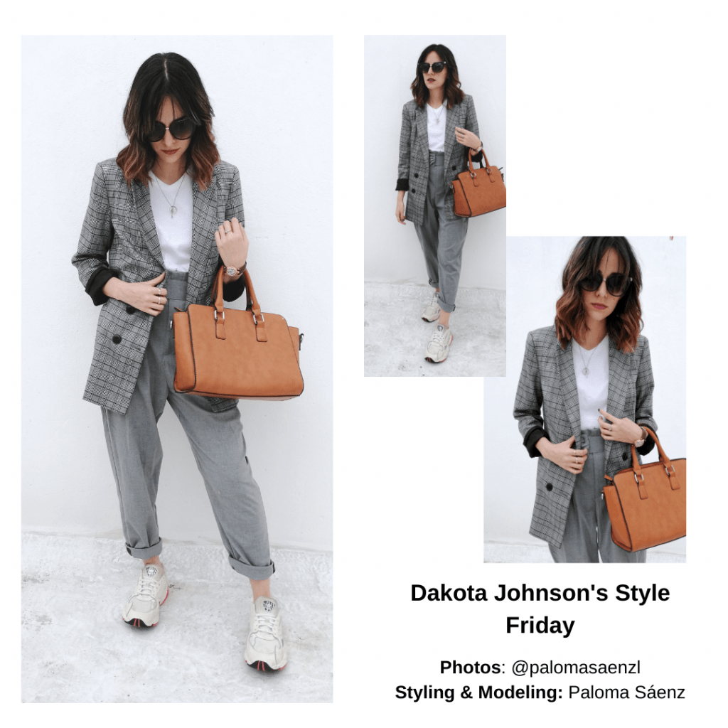 Dakota johnson outfit - Plaid blazer, slacks, cognac purse, sneakers