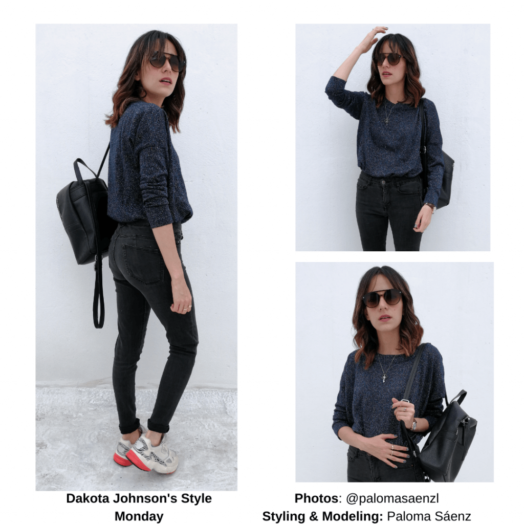 Casual outfit inspired by Dakota Johnson with black skinny jeans, slouchy sweater, mini backpack, sunglasses