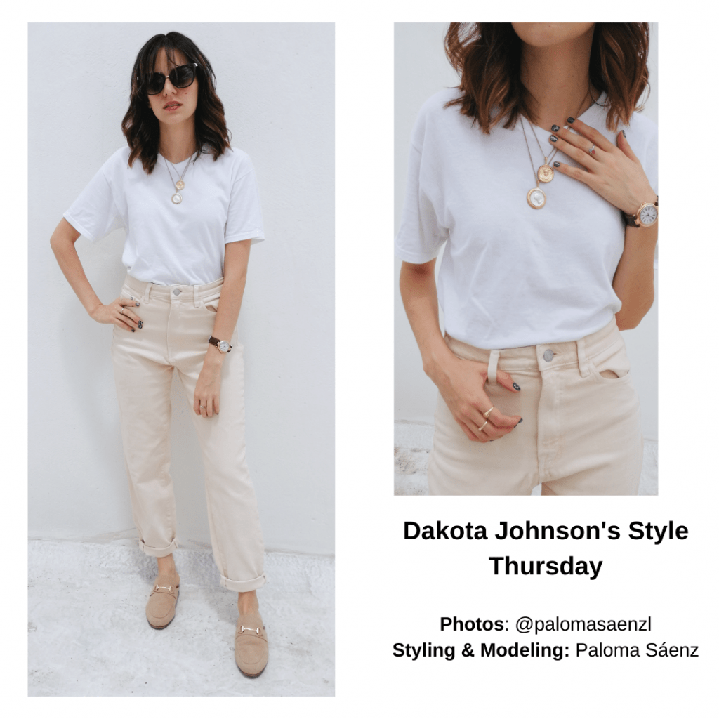 Dakota Johnson neutral outfit with chinos, white shirt, layered necklaces