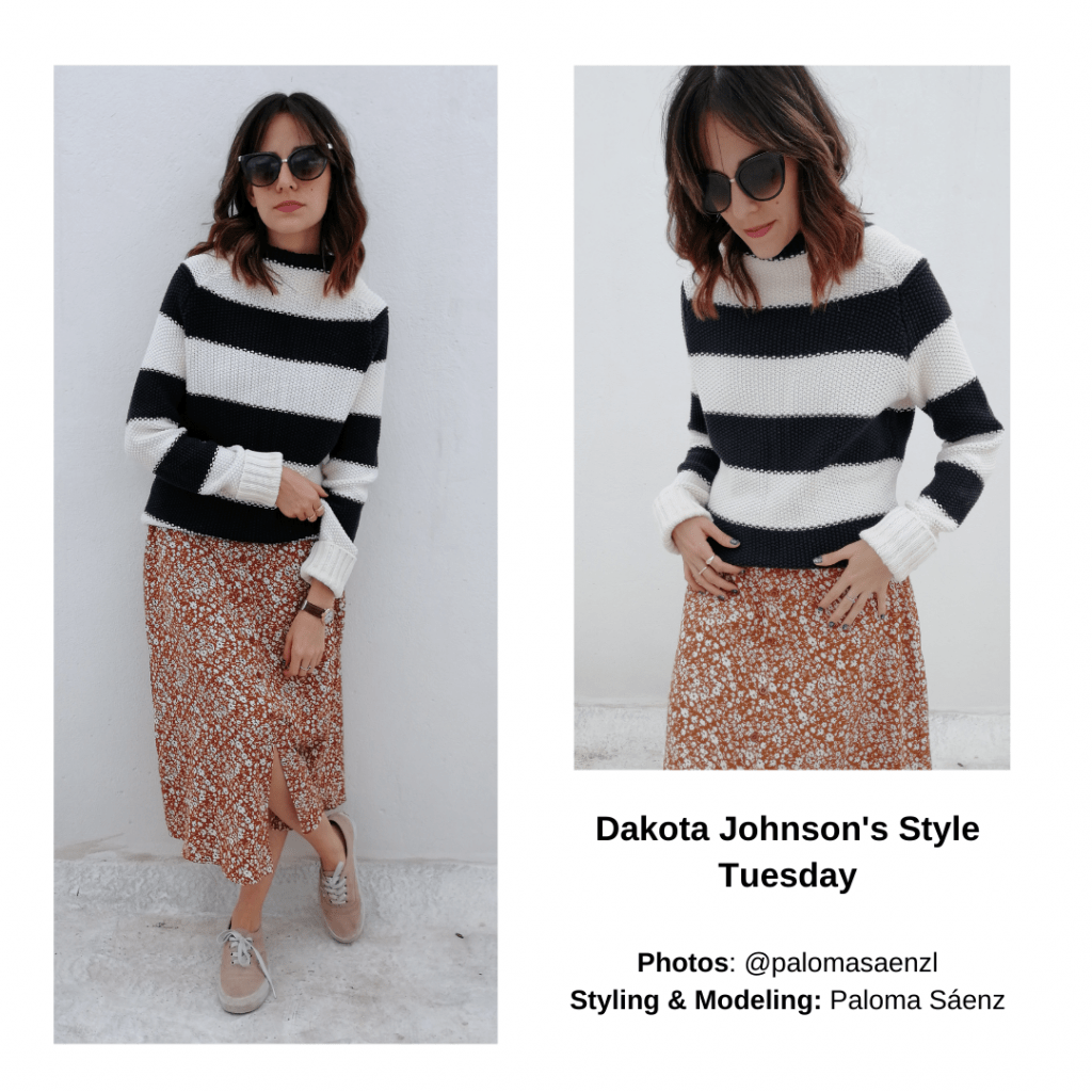 Outfit inspired by Dakota Johnson with striped sweater, printed midi skirt, Vans sneakers