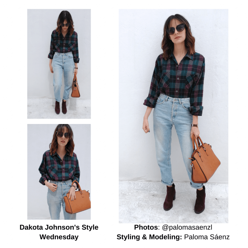 Dakota Johnson outfit with plaid shirt, mom jeans, ankle boots, cognac purse