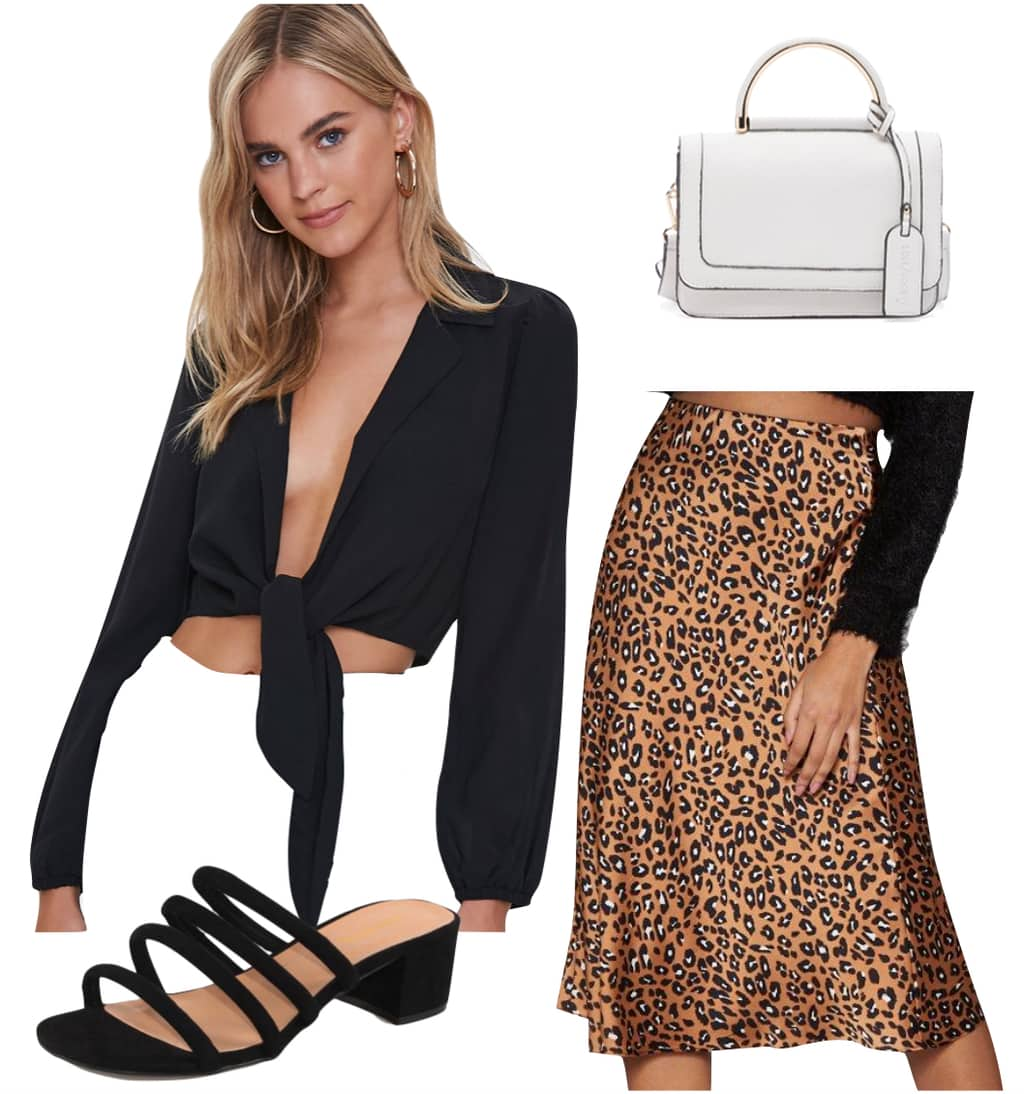 Eiza Gonzalez Outfit #1: leopard print midi skirt, black cropped tie-front top, black faux suede strappy mules, and white mini handbag
