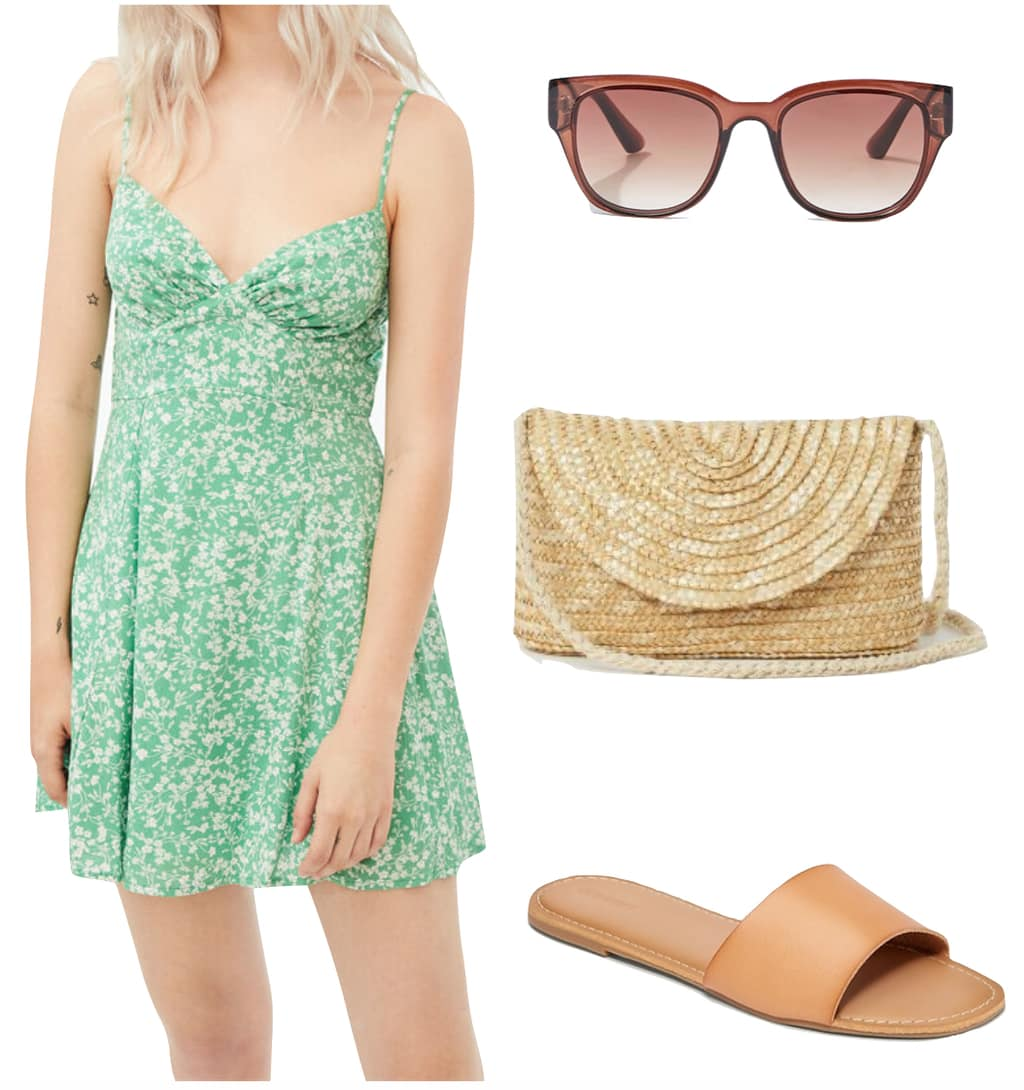 Liza Gonzalez Outfit #2: green floral v-neck mini dress, brown flat slide sandals, woven straw crossbody bag, and sunglasses