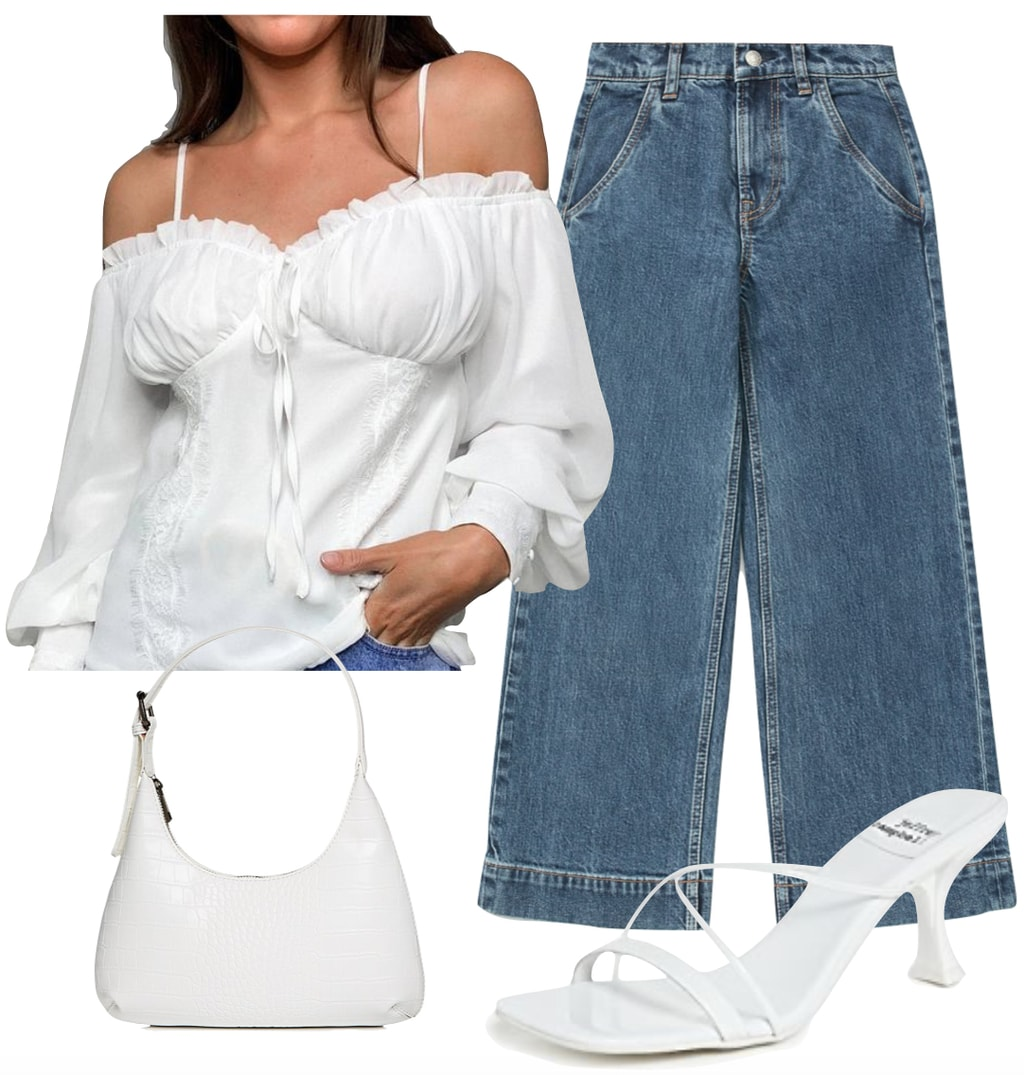 Eiza Gonzalez Outfit 3: white ruched bust blouse, cropped wide-leg jeans, white mules sandals, and white mini handbag