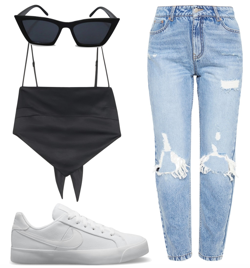 Emily Ratajkowski Outfit 1: black handkerchief crop top, ripped boyfriend jeans, black cat-eye sunglasses, and white low top sneakers