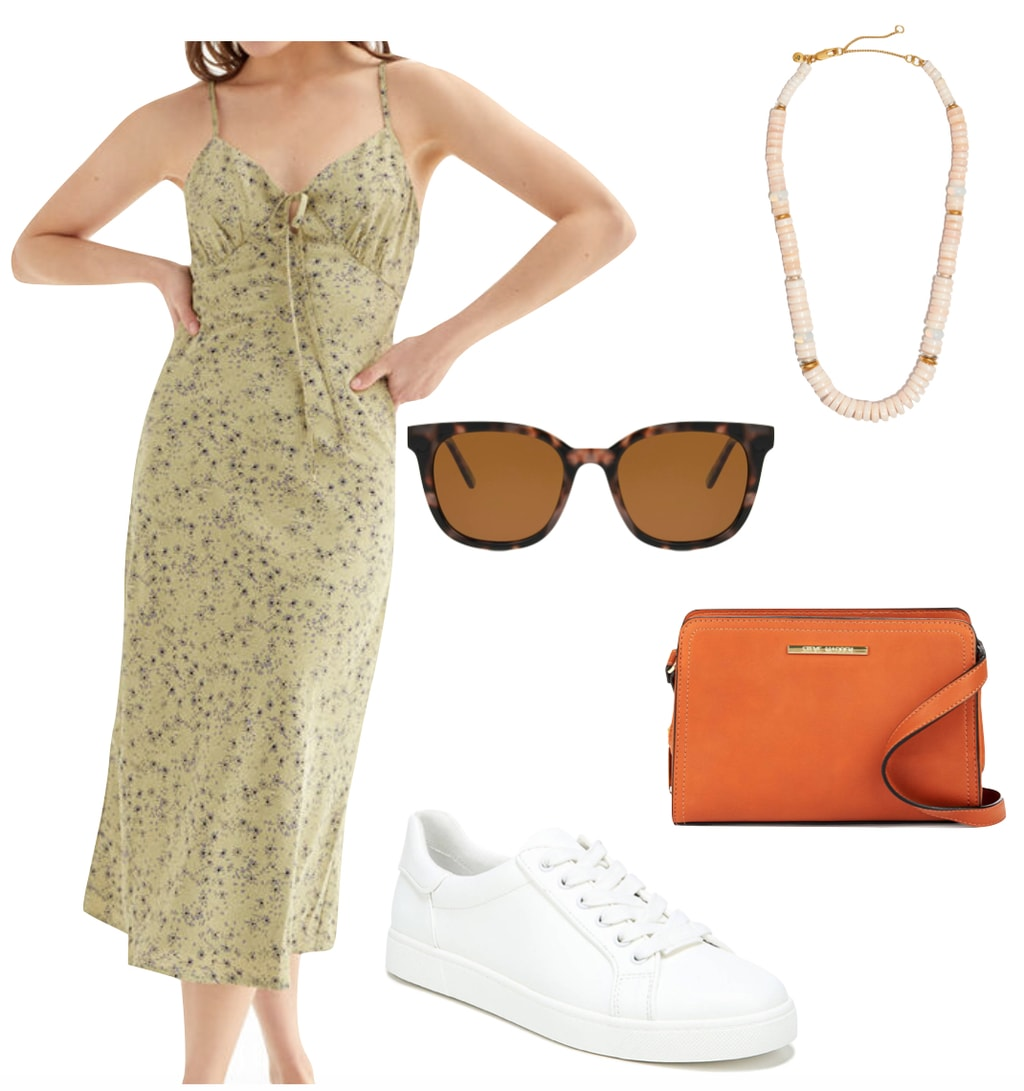 Emily Ratajkowski Outfit #2: floral midi dress with ruched bust, white low top sneakers, brown tortoise sunglasses, orange crossbody bag, and pearl beaded necklace