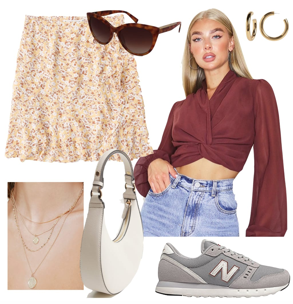 Emily Ratajkowski Outfit #3: yellow floral print mini skirt, brown cropped blouse, brown tortoise cat-eye sunglasses, thick gold hoop earrings, gray New Balance sneakers, layered gold coin pendant necklace, and white round shoulder bag