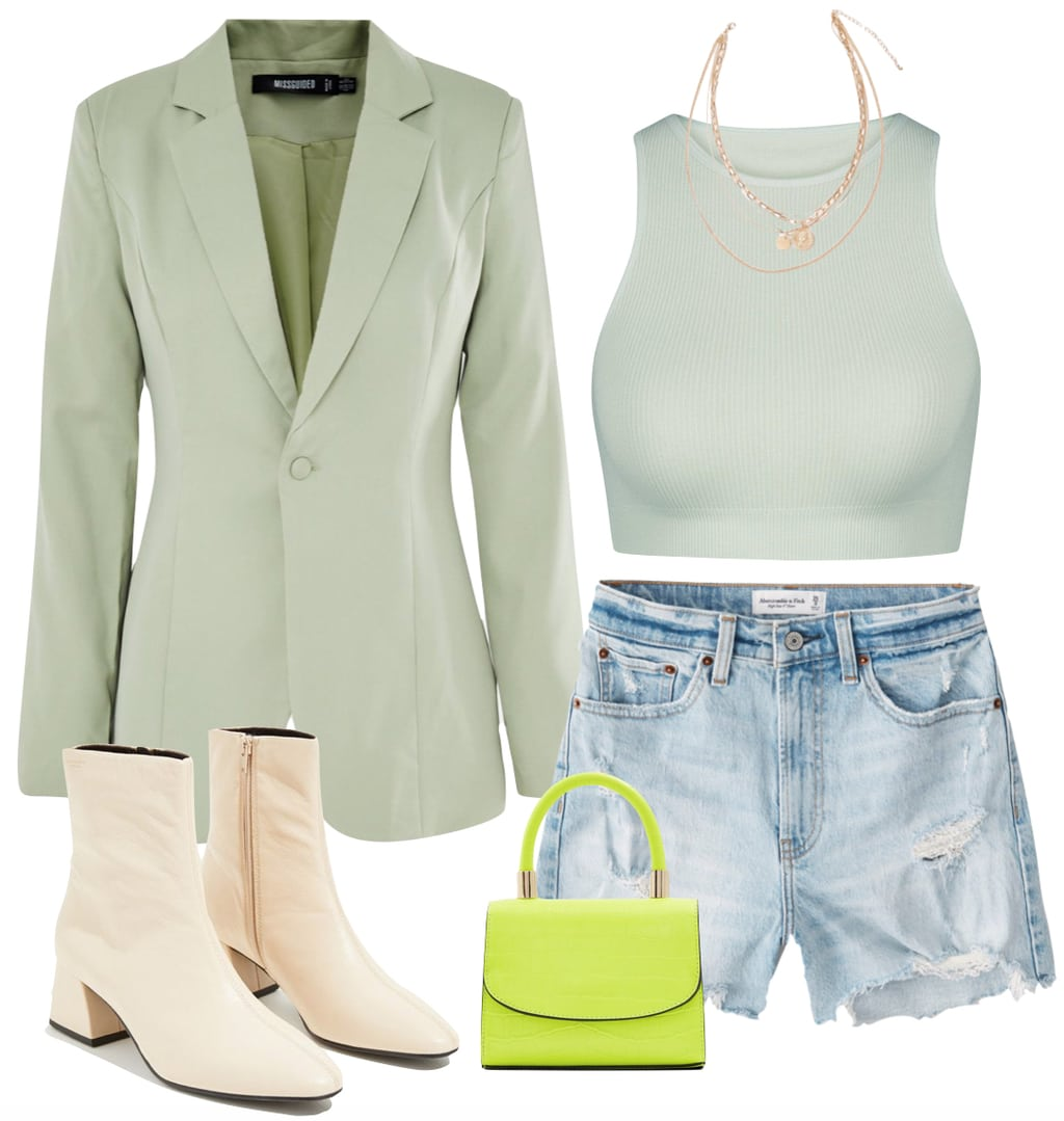 Hailey Bieber Outfit: sage green blazer, green ribbed crop top, layered gold chain necklaces, high rise jean shorts, neon mini bag, and cream ankle booties