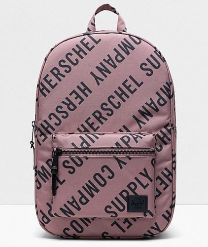 Herschel Supply Co brand backpack with a wrap-around text pattern for a luxury feel