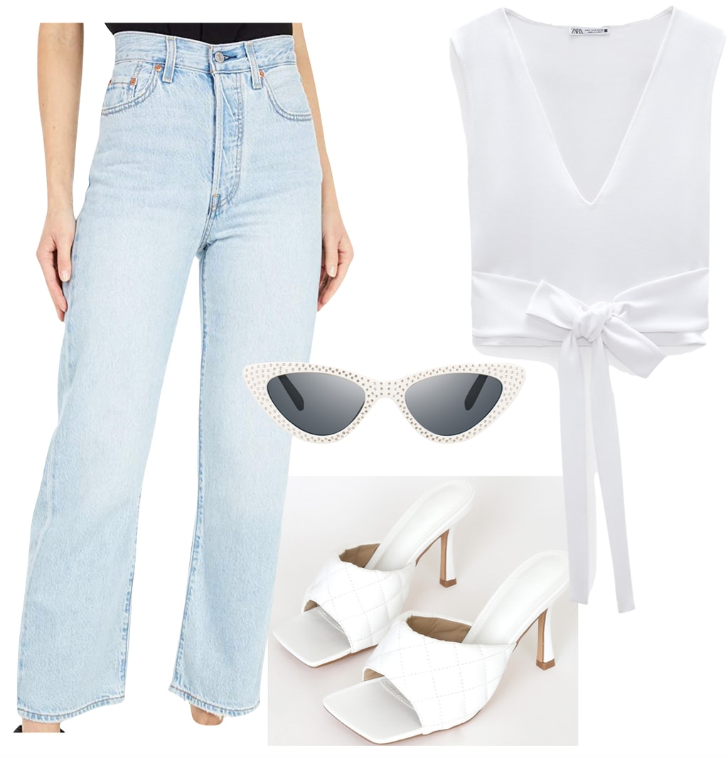 Jordyn Woods Outfit #1: Levi's light wash straight leg jeans, white v-neck tie-front top, white studded cat-eye sunglasses, and white quilted mules