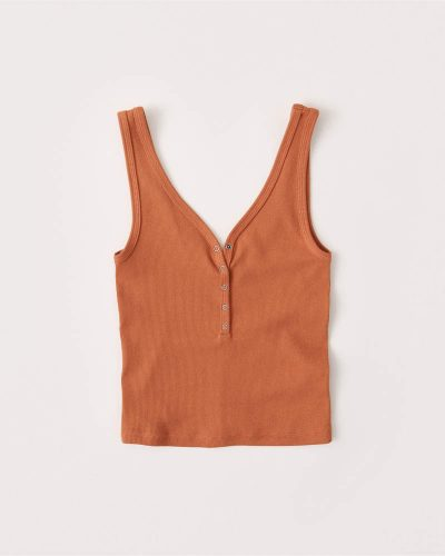 Burnt orange colored button front tank
