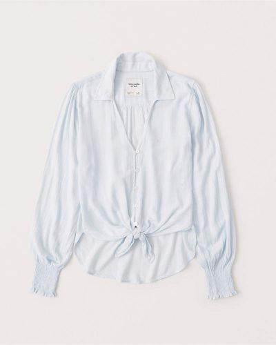 Abercrombie pale blue button down blouse