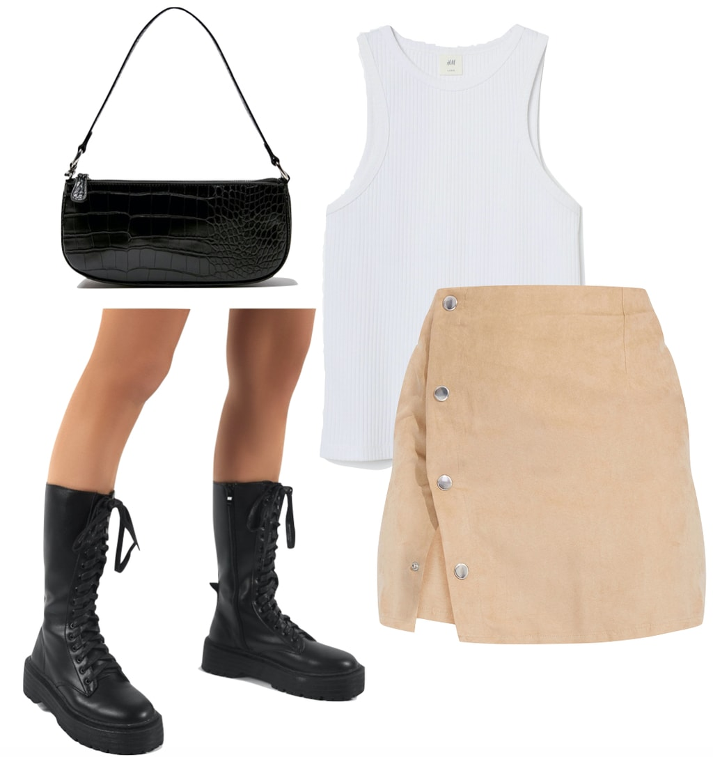 Kendall Jenner Outfit: white tank top, beige button front mini skirt, black crocodile shoulder bag, and black chunky lace-up mid-calf boots