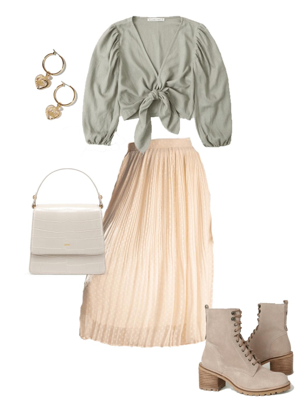 green front-tie top, beige skirt, heart dangle earrings, white purse, healed, beige combat boots