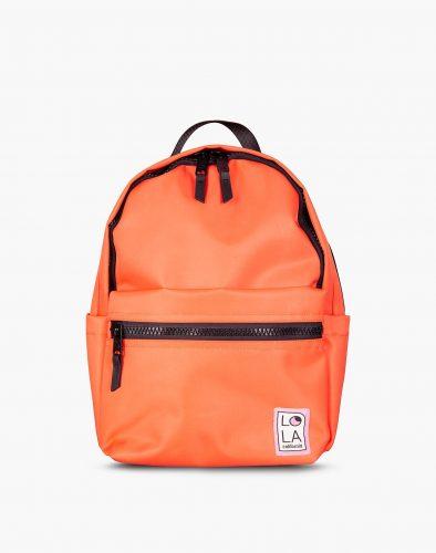 sturdy, neon-orange, nylon backpack
