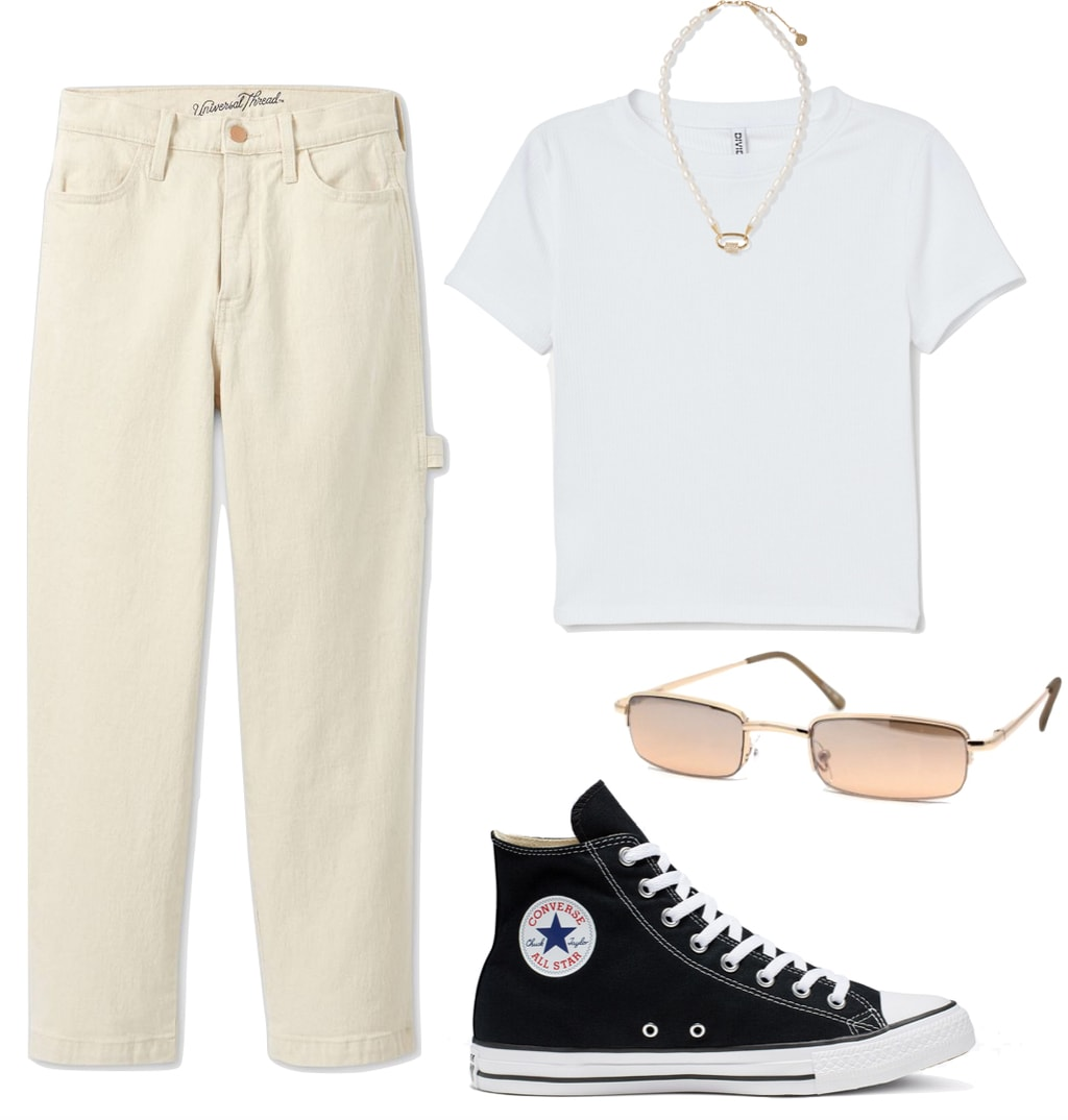 Madison Beer Outfit: cropped white t-shirt, pearl choker necklace, ecru straight leg jeans, black Converse Chuck Taylor All Star sneakers, rectangle metal sunglasses