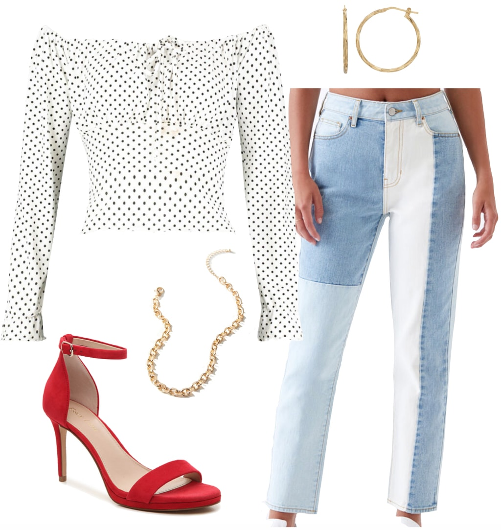Serayah McNeill Outfit: white polka dot off the shoulder top, patchwork jeans, gold hoop earrings, gold chain necklace, and red heeled sandals