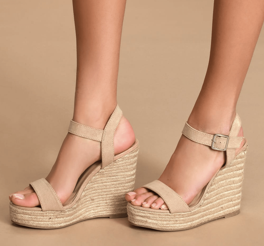 Tan espadrille wedge sandals, shoes for different occasions