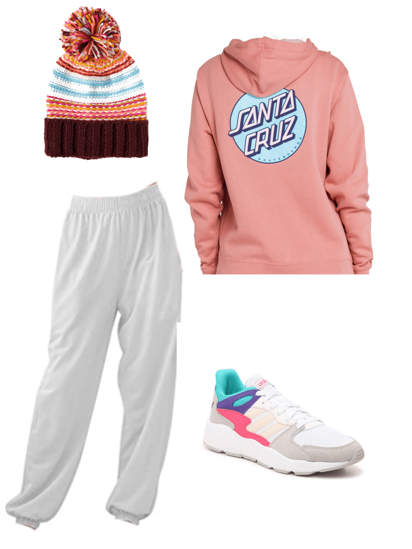 pink santa cruz hoodie, striped beanie, white sweats, colorful adidas sneakers