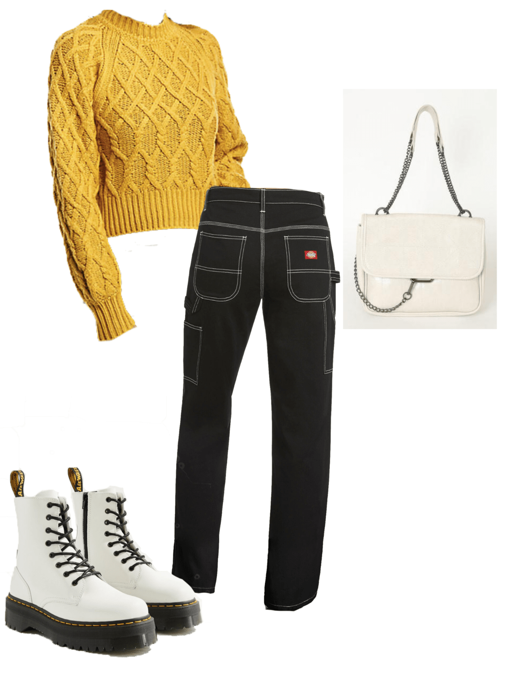 yellow cable knit sweater, white dr martens, white purse, black dickie jeans