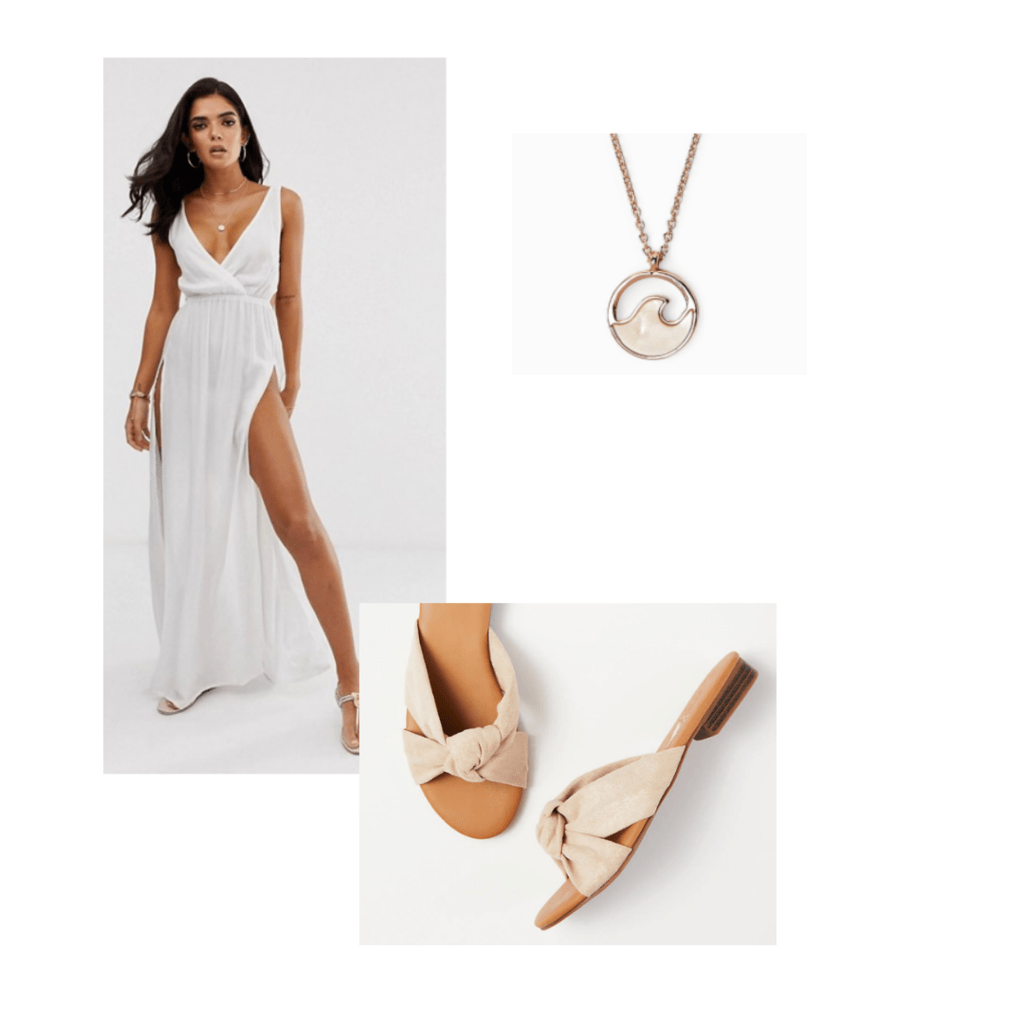 black is king fashion outfit inspiration: white beach dress outfit with sandals and pendant