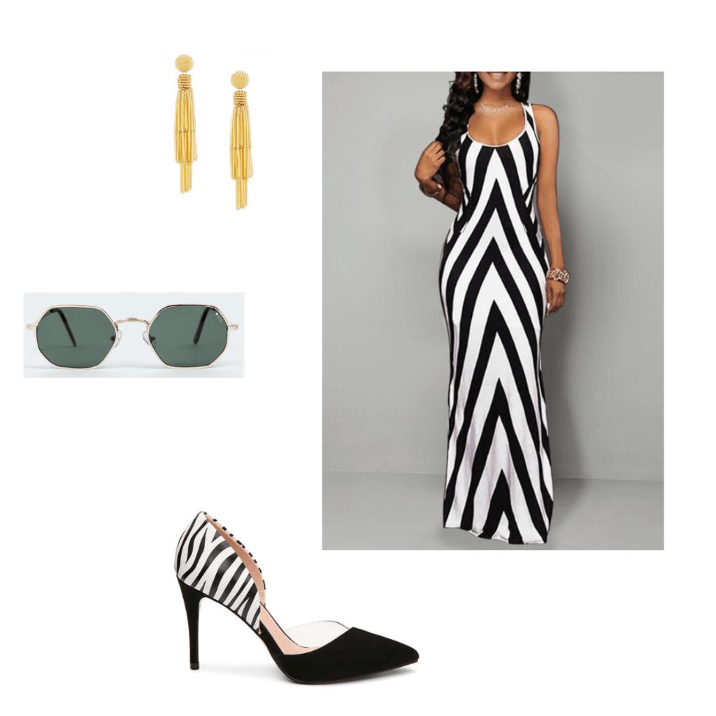 black is king fashion inspiration: chevron black and white dress with zebra print heels