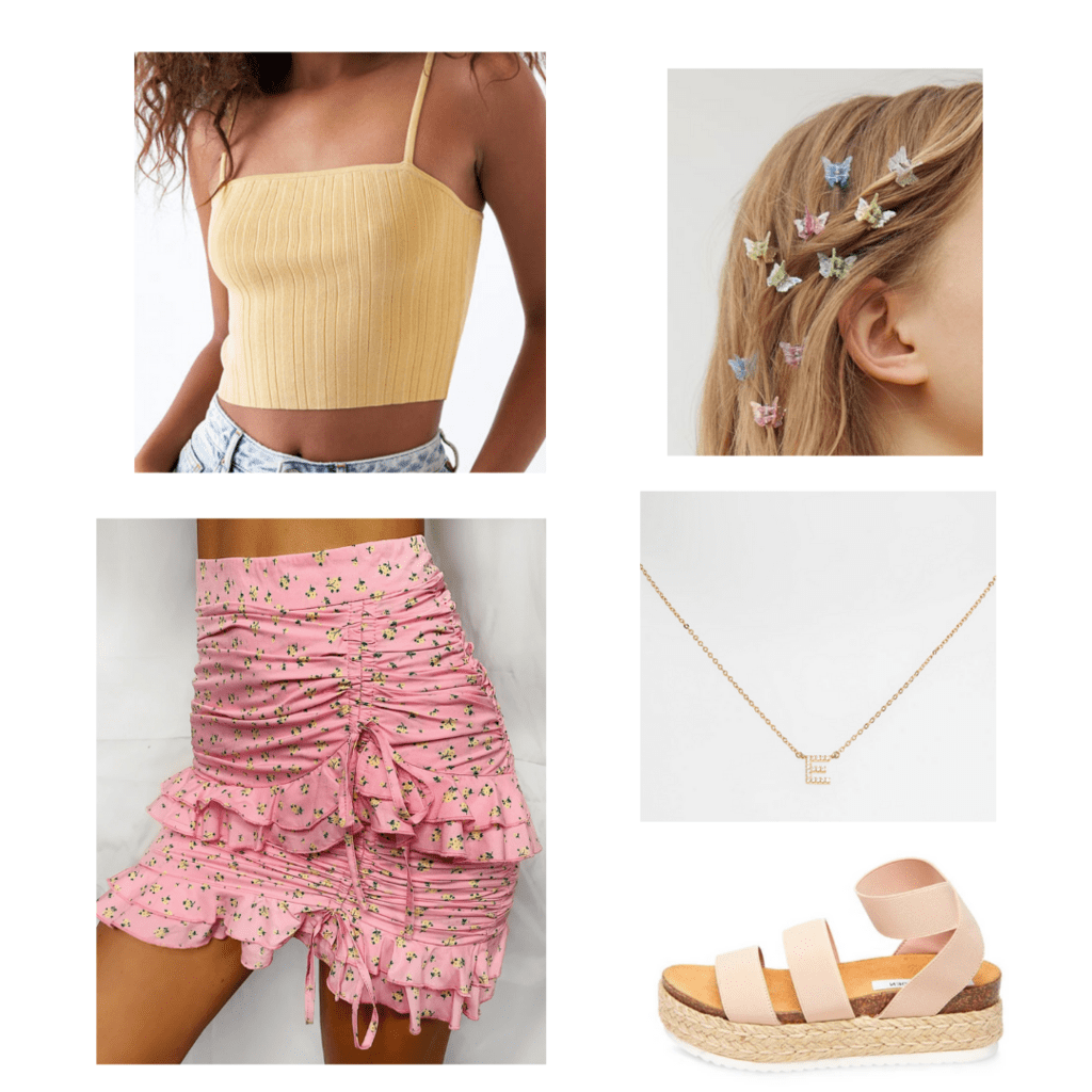 Casual 21st birthday outfit with accessories -- pink ruched skirt, yellow crop top, flatform sandals, initial necklace, butterfly hair clips